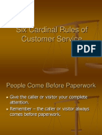 Six Cardinal Rules of Customer Service
