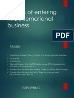 Modes of Entering Into International Business
