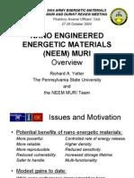 YETTER-Nano Engineered Energetic Materials DURINT-MURI Review