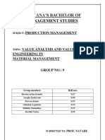 VALUE ANALYSIS AND VALUE ENGINEERING IN  MATERIAL MANAGEMENT