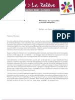 Courrier de La Relève aux responsables associatifs brétignolais (6 septembre 2013)