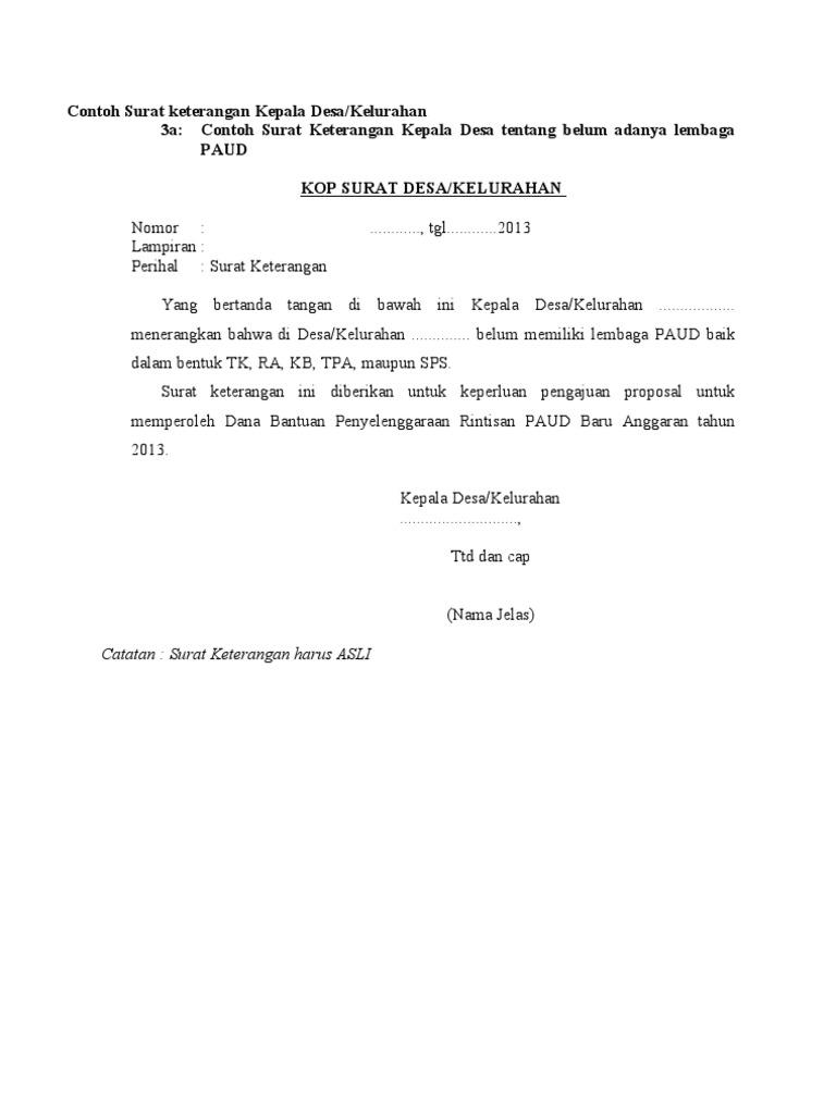 Contoh Surat Keterangan Kepala Desa