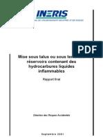 INERIS Mise Sous Talus Ou Sous Terre Des Reservoirs Hydroc Liquides
