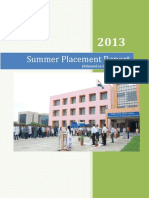 Summer Placement Report 2013
