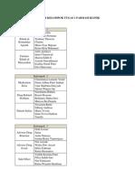 Daftar Kelompok Tugas 1 Farmasi Klinik