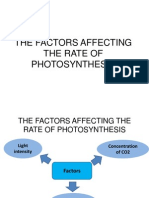 The Factors Affecting the Rate of Photosynthesis