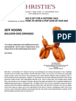 Christie'S New York To Offer A Pop Icon Of Our Age - Jeff Koons Balloon Dog (Orange) - 12 November 2013