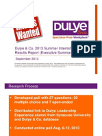 Dulye & Co. 2013 Summer Internship Poll_Results Report Condensed 091113_for Posting