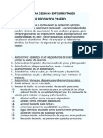 Fromulas Productos de Aseo