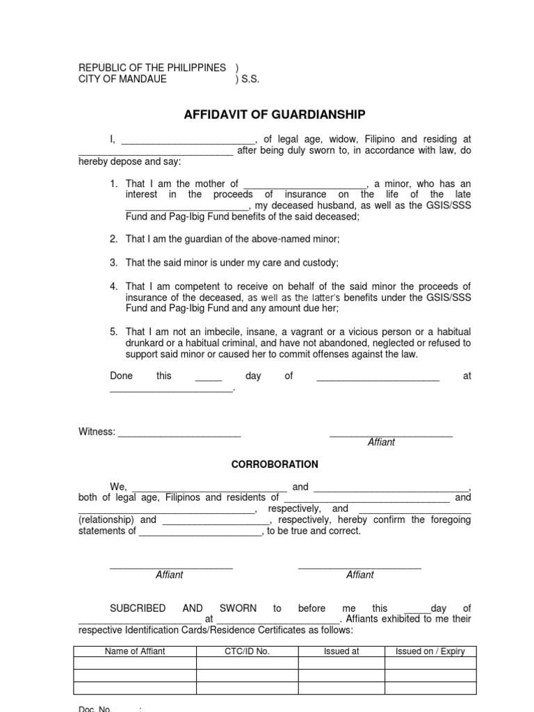 Affidavit Of Guardianship Sample
