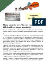 Dilma anuncia investimento em água de R$ 135,4 milhões para o semiárido