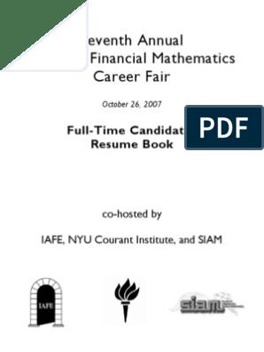 Fulltime Quant Sample Resumebook Financial Modeling Option Finance