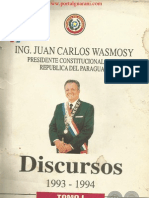 DISCURSOS 1993 a 1994 DEL ING. JUAN CARLOS WASMOSY - TOMO I - PARAGUAY - PORTALGUARANI