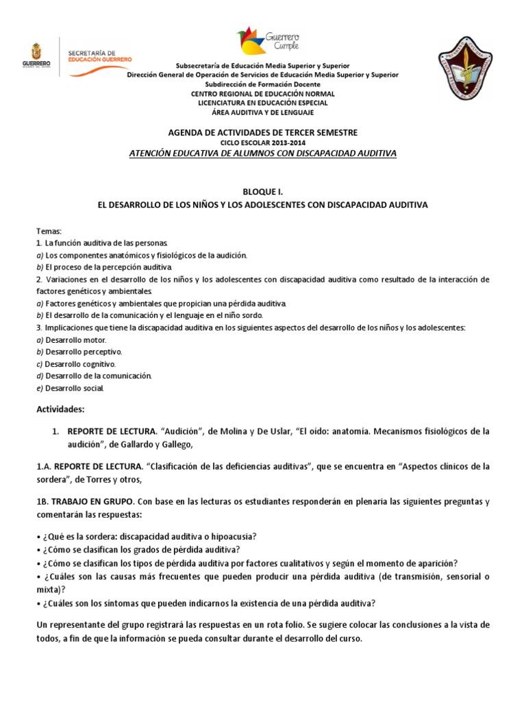 Agenda de Actividades Auditiva
