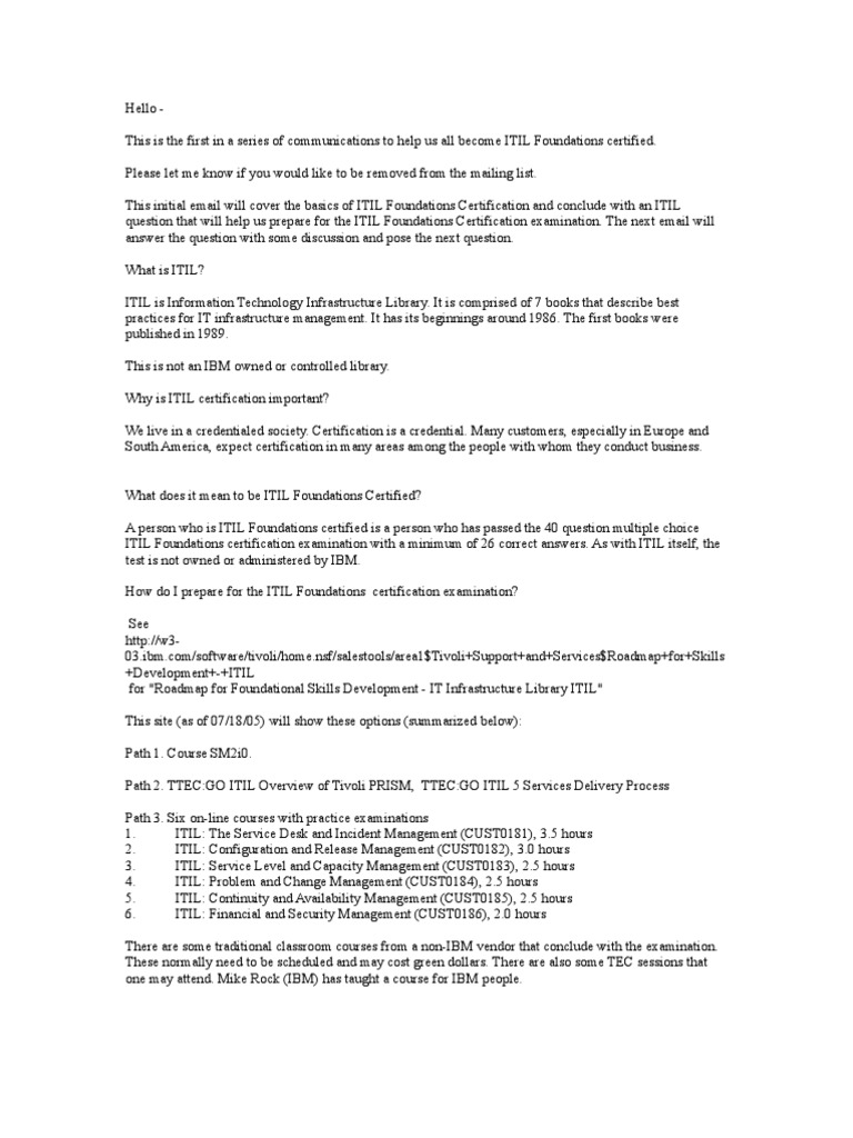 Itil Series Itil Service Level Agreement