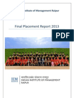 IIM Raipur PGP 2011-13 Final Placement Report