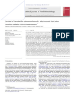 Survival of  Lactobacillus plantarum in model solutions and fruit juices