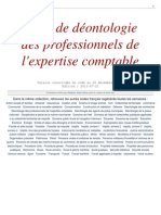 Deontologie Expertise Comptable