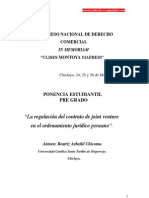 La regulación del contrato de joint venture