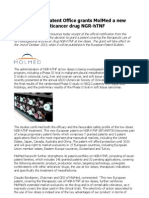 MolMed official notification from the European Patent Office for NGR-hTNF