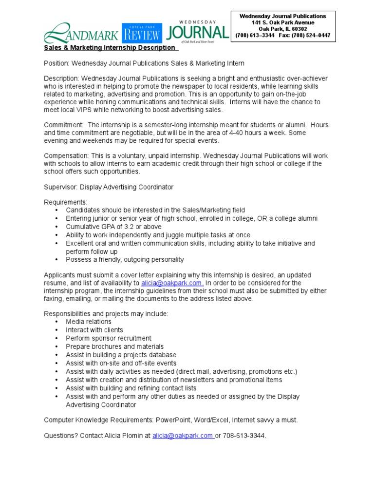 Marketing And Sales Internship Application Internship Advertising