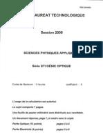 BAC Sciences-Physiques-Appliquees 2009 STIOPTI
