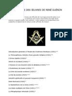 CHRONOLOGIE DES OEUVRES DE RENÉ GUÉNON
