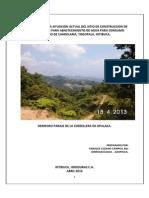 Dictamen Sobre La Situacion Actual Del Sitio de Construccion de Una Obra Toma Para Abastecimiento de Agua Para Consumo Humano de Candelaria,Togopala,Intibuca