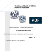 TERMODINÁMICA CICLO DE REFRIGERACIÓN
