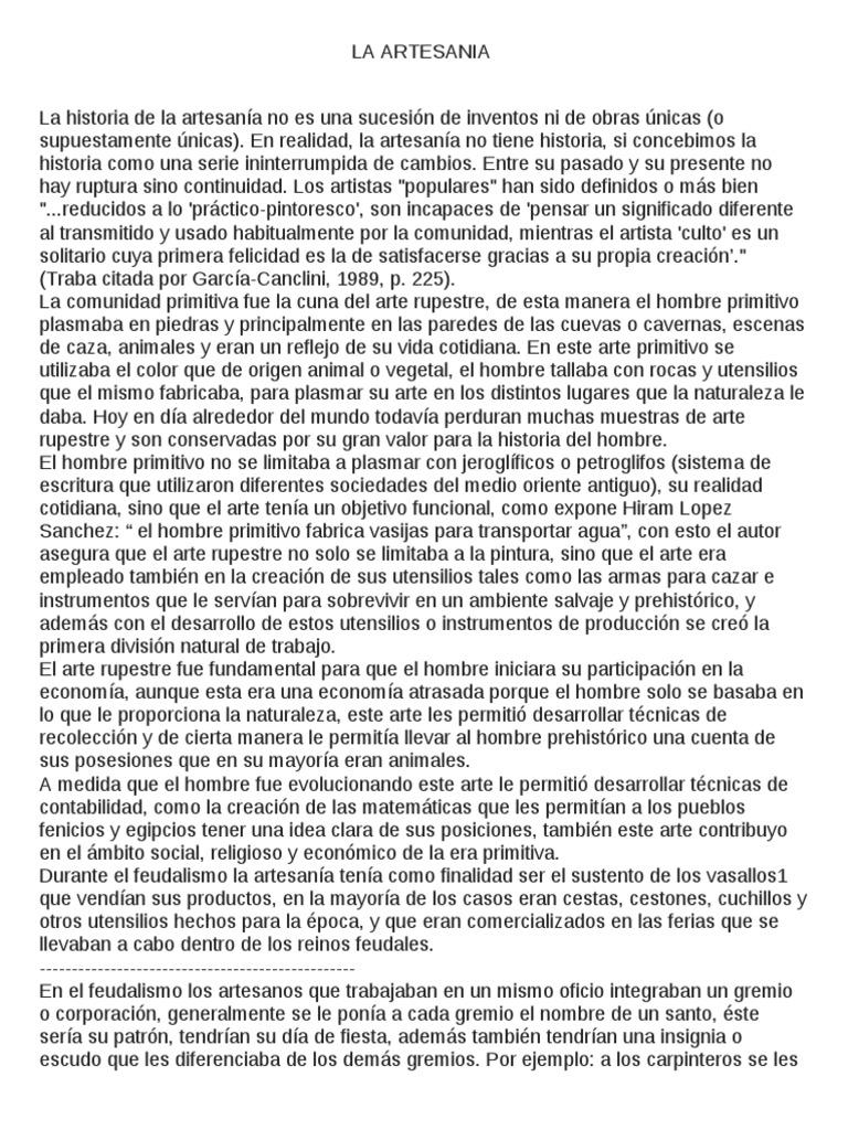 Historia y Origen de La Artesania 1al 8
