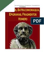 Homero - Margines, Batracomiomaquia, Epigramas, Fragmentos