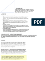 Microsoft Project 2007 Introduction