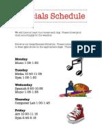 Specials Schedule 2013