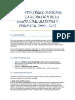 PLAN ESTRATÉGICO NACIONAL PARA LA REDUCCIÓN DE LA MORTALIDAD MATERNA Y PERINATAL 2009