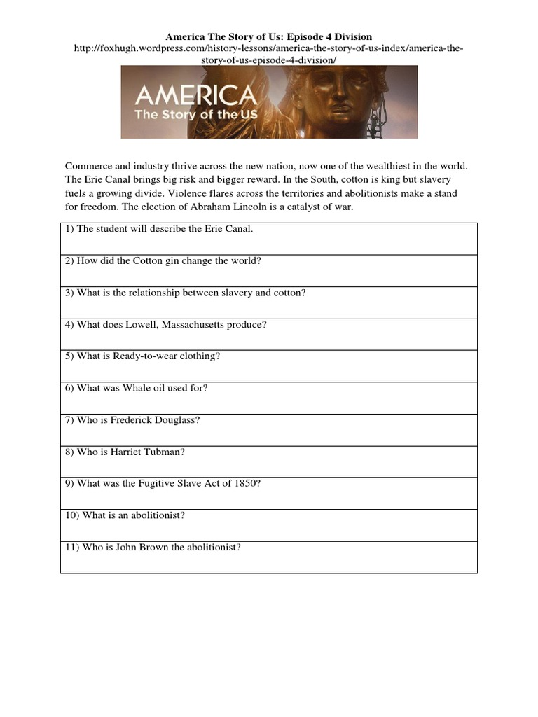 worksheet Harriet Tubman Worksheets all grade worksheets harriet tubman america the story of us episode 4 division worksheet
