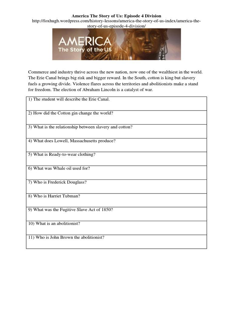 worksheet America The Story Of Us Westward Worksheet america the story of us episode 4 division worksheet