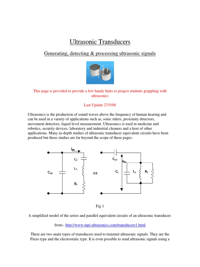 Ultrasonic Transducers | Amplifier | Inductor