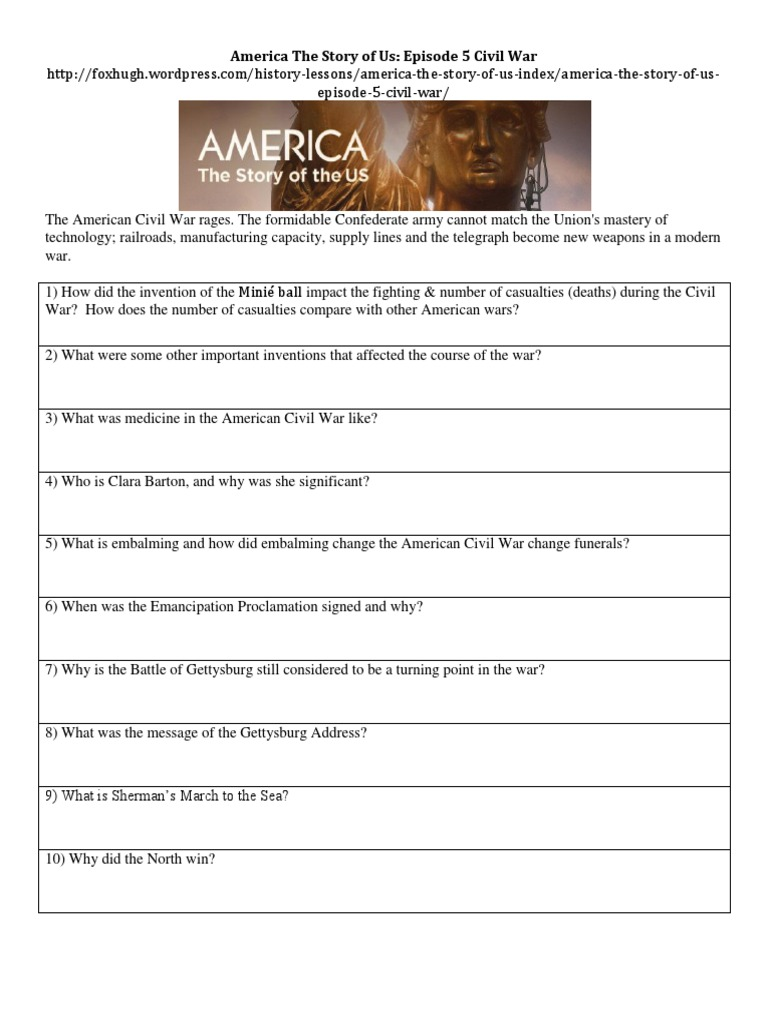 Worksheets Gettysburg Address Worksheet america the story of us episode 5civil war worksheet