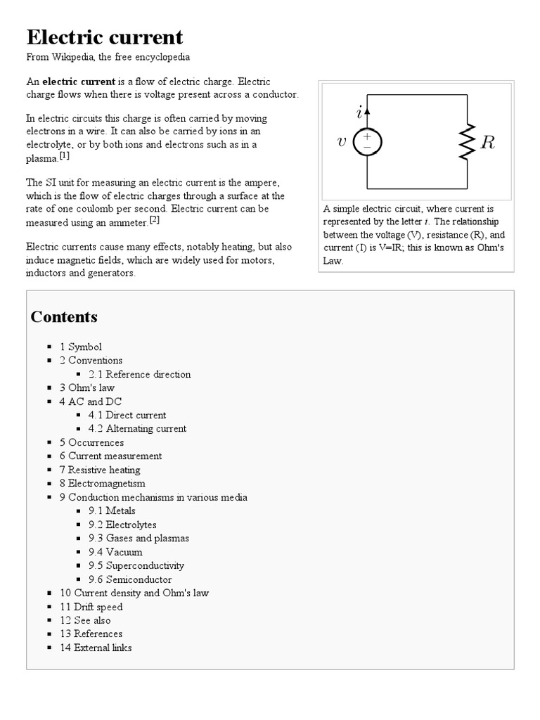 Electric Current Wikipedia The Free Encyclopedia Electrical