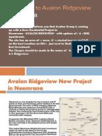 Avalon Ridgeview New Project in Neemrana