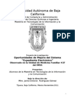 """Oportunidades de Mejora del Sistema del IMSS """"Expediente Electrónico"""""""