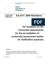 EA-2 17 2009 - EA Guidance on the Horizontal Requirements for the Accreditation of Conformity Assessment Bodies for Notification Purposes