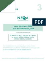 Formula Sheet - New Zealand Level 3 Calculus (2009)