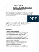 NLP Use of Nlp Presuppositions in Persuasion
