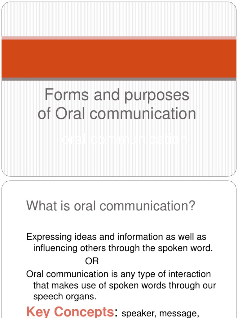 different forms of oral communication