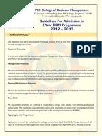 Admission Application Form for BBM 2012