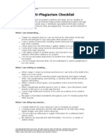 Anti Plagiarism Checklist
