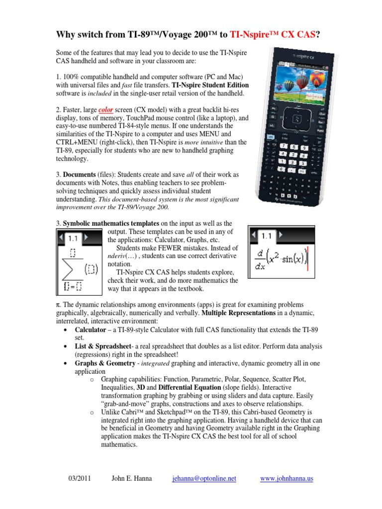 TI-Nspire CAS vs TI-89 | Office Equipment | Areas Of