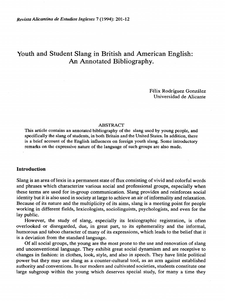 Youth And Student Slang In British And American English An