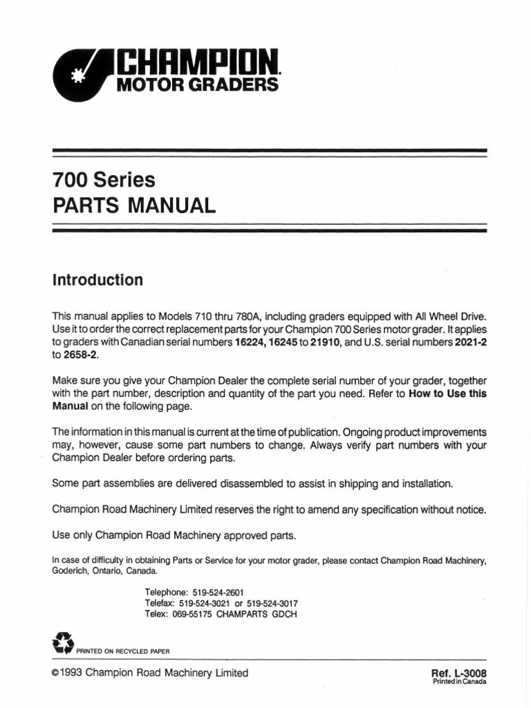 Champion Parts Manual Brake Transmission Mechanics